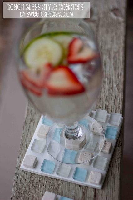 DIY beach glass style coaster