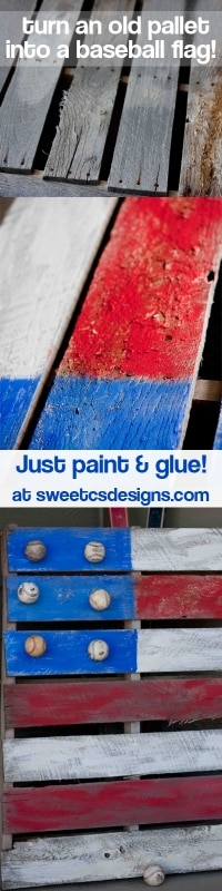 turn an old #pallet into a baseball flag! So easy and fun- even learn how to make new baseballs look aged at sweetcsdesigns.com ! #4thofjuly #flag #baseball