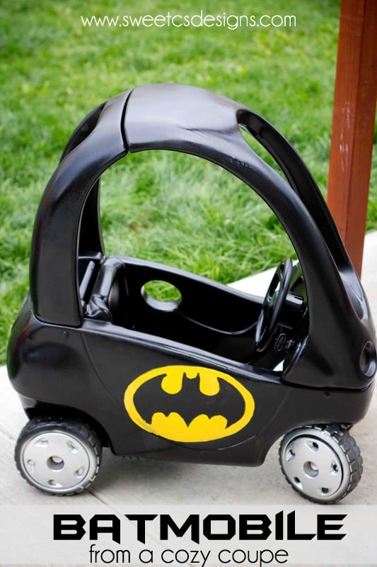 http://www.sweetcsdesigns.com/batmobile-cozy-coupe-refashion/