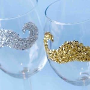 Reusable Glitter Moustache Stickers