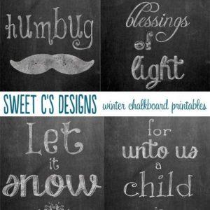 Winter Chalkboard Printables