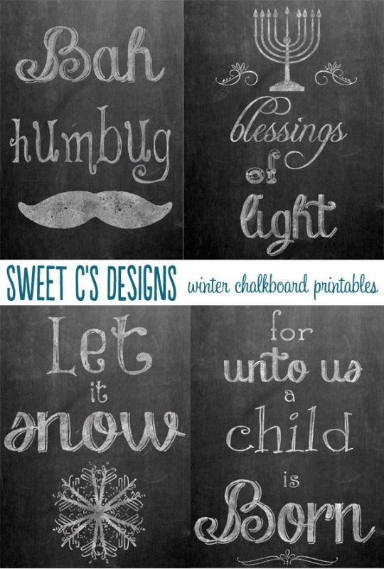 winter chalkboard printables sweet cs designs