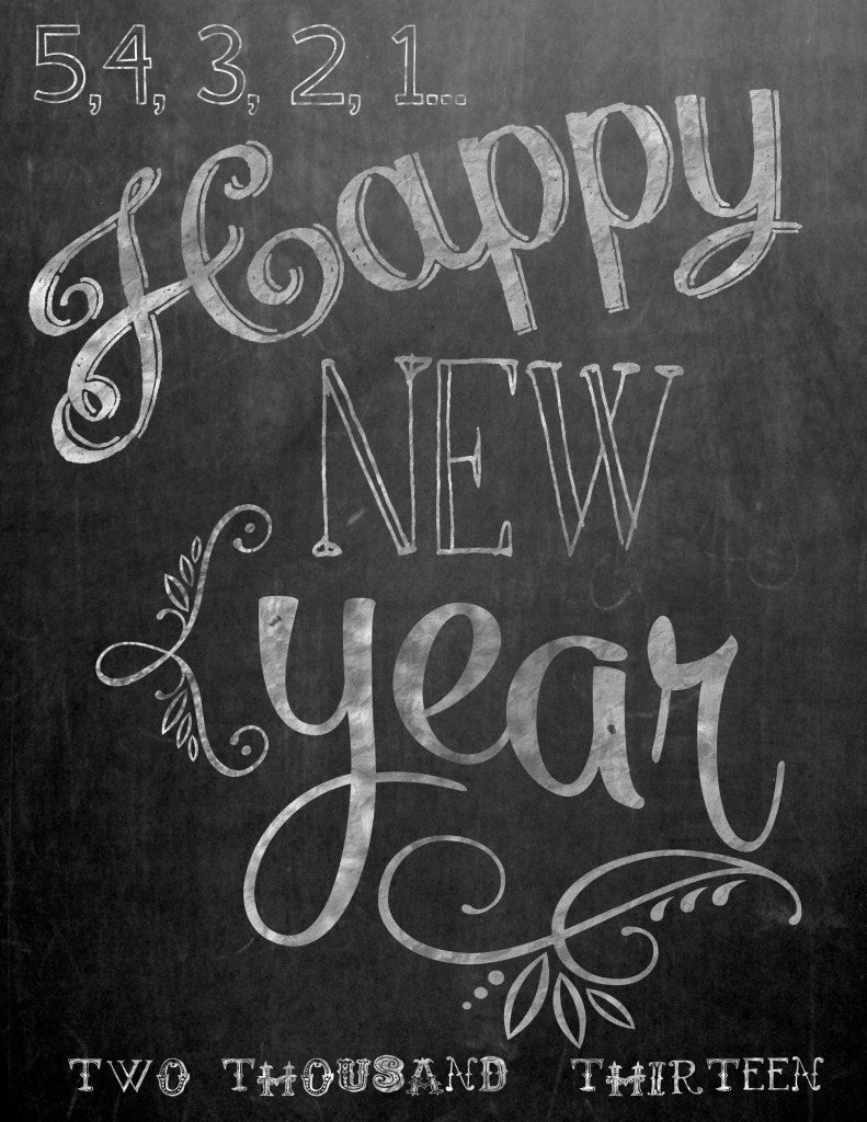 happy new year chalkboard printable