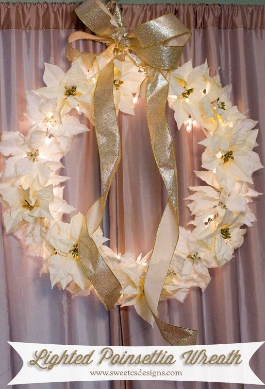 lighted poinsettia wreath