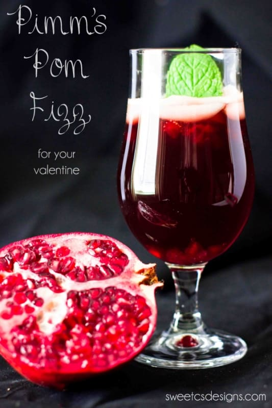 Pomegranate Pimms Fizz Cocktail - light, sweet and delicious