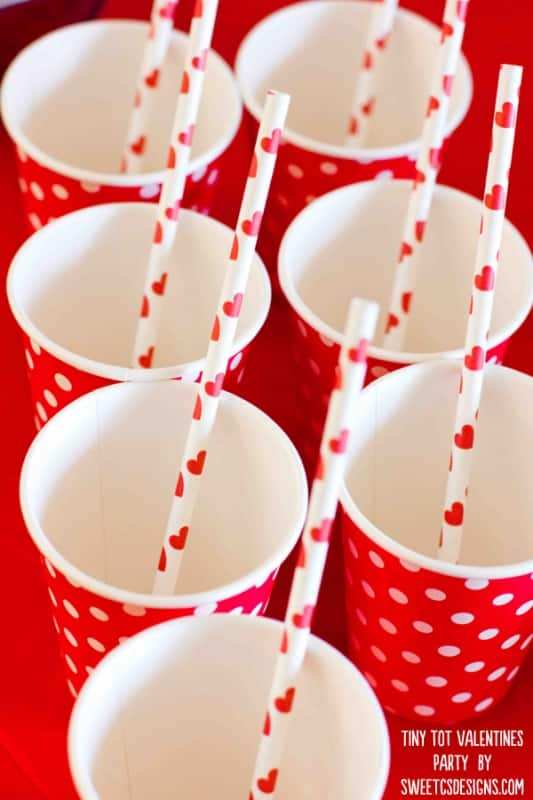 tiny tot valentines party cups and straws