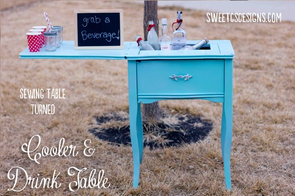 Cooler and drink table out of an old sewing table #party #drinktable