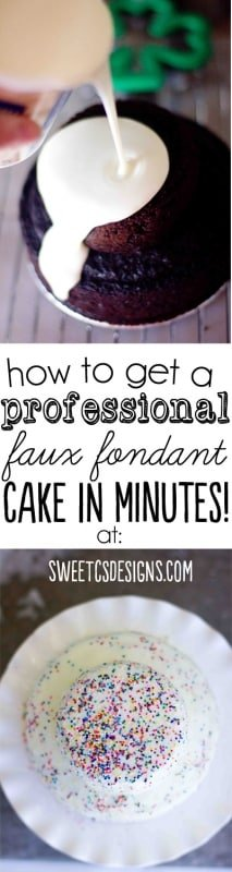How to get a professional faux fondant cake look in minutes- this tip at sweetcsdesigns.com is life-changing! There are also ways to do it for cupcakes with homemade frosting or doughnuts!