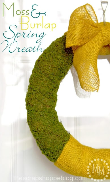 Burlap Moss Spring Wreath 1