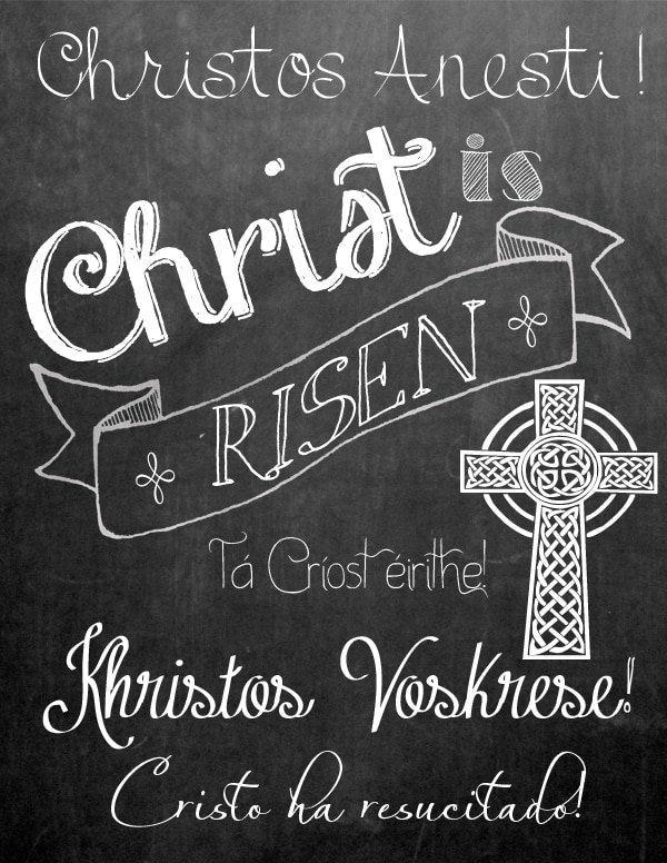 Christ is Risen Free Chalkboard Printable