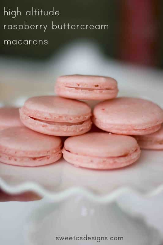 high altitude raspberry buttercream macarons