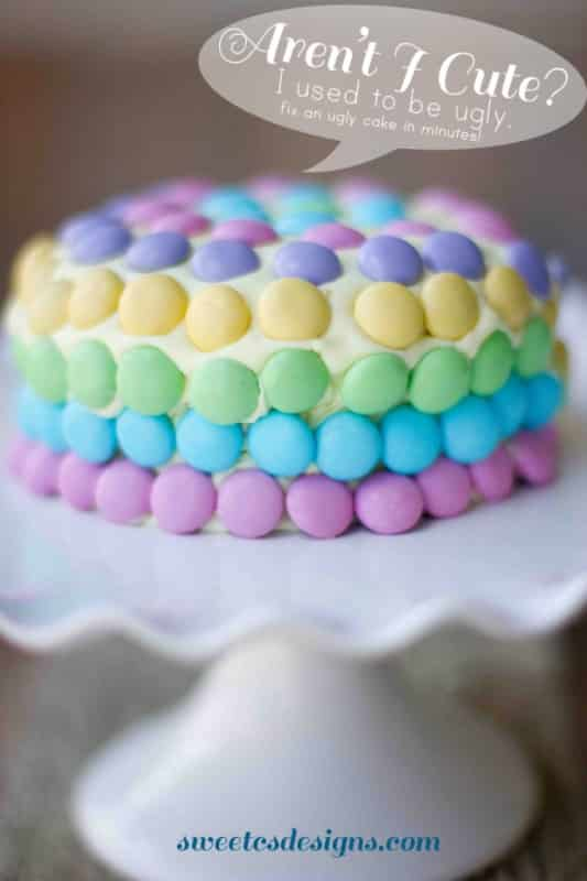 how to fix an ugly cakes-  easily frost a cake that is super crumbly and uneven. This is an AWESOME trick for spreadable icing, as well as a fun decoration idea. Pin now and save for your next party! #cake #decorating #M&Ms