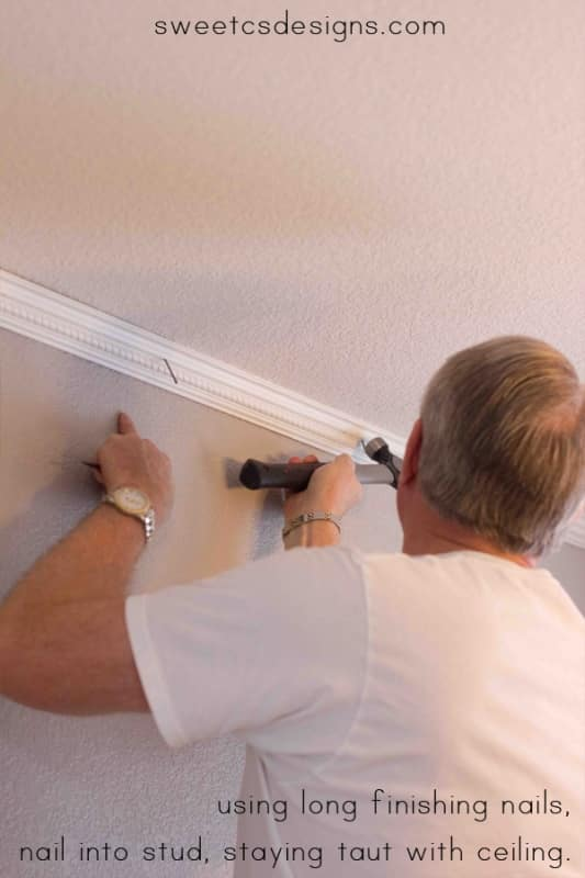 install crown molding without a nailgun- you really can do this!