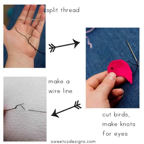 make embroidered felt birds