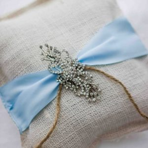 Something Burlap, Something Blue Bling Ring Pillow