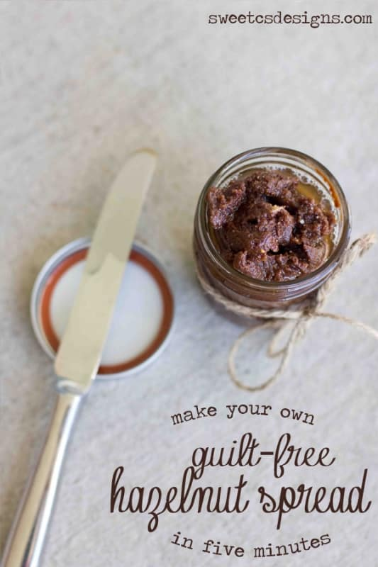 make your own hazlenut spread takes five minutes and is SO easy! No sugar or dairy and tastes better than nutella