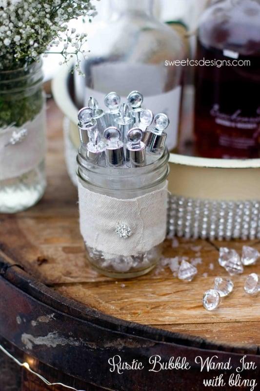 rustic bubble wand jar with bling from david tutera bridal #wedding #michaels
