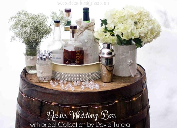 rustic-wedding-bar-with-David-Tutera-collection-at-Michaels-wedding