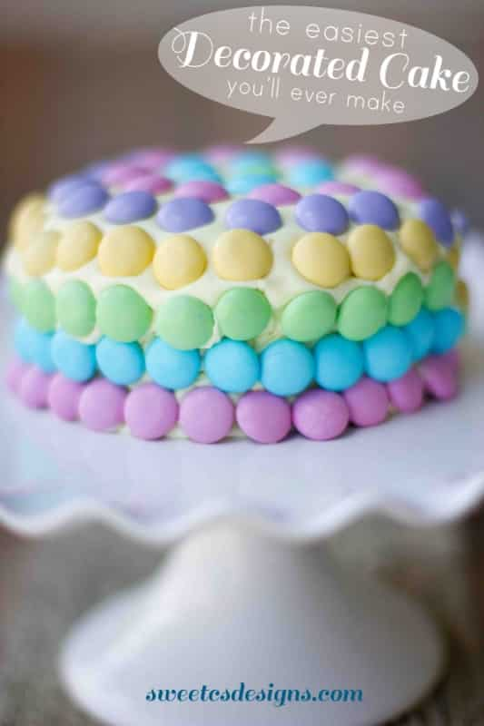 the easiest decorated cake you'll ever make! Take store bought icing and make it strong enough to hold M & Ms or other candy easily! Pin now, save your your next #party