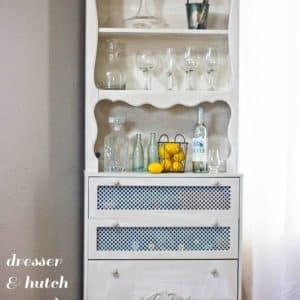 Ugly Old Dresser & Hutch Turned Chic Liquor Cabinet & Bar!