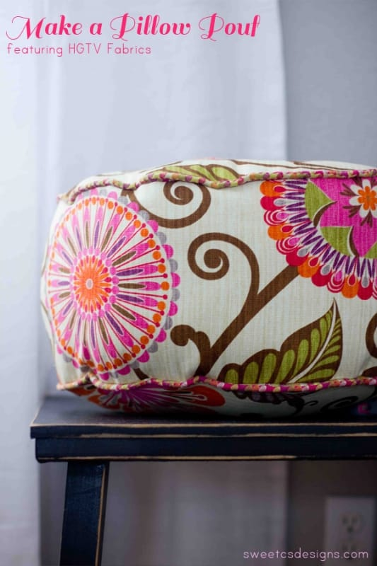make a pillow pouf! It is incredibly easy, takes about 30 minutes, and makes a great accent pillow, throw pillow or just a fun accessory!