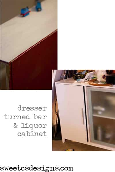 ugly old dresser and bright red trashed hutch turned gorgeous liqour cabinet and bar