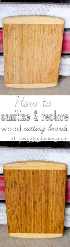 How to sterilize and restore a wood cutting board- This is SUCH great information, and so easy to do! Only takes five minutes active time and under an hour with drying!