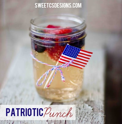 Patriotic punch- an easy drink that is a summer bbq showstopper!