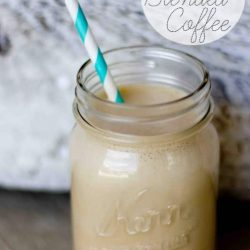 frappuchino inspired blended coffee- delicious and half the calories! Such a great way to indulge at home!