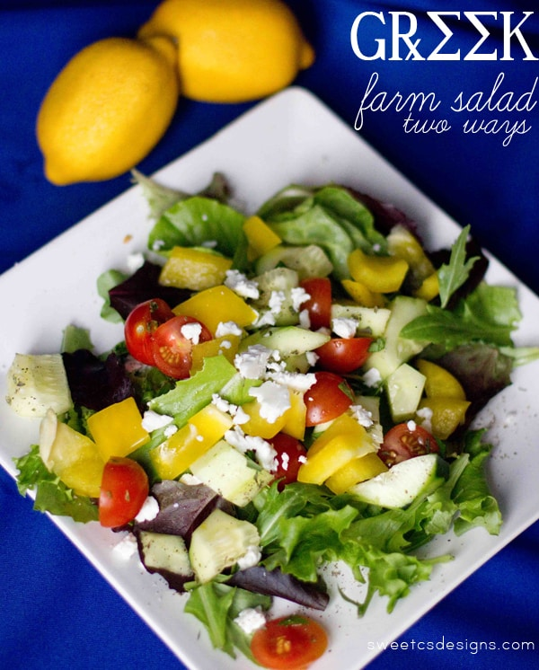 such a delicious and easy way to use up garden veggies- this greek farm salad is so quick to make and delicious!