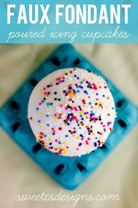 the easiest way to frost a cupcake EVER- faux fondant poured icing cupcakes! These are GENIUS!