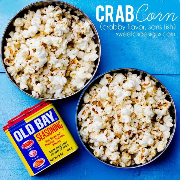 Crab Corn- homemade popcorn with old bay and rich butter! Super easy to make and so addictive!