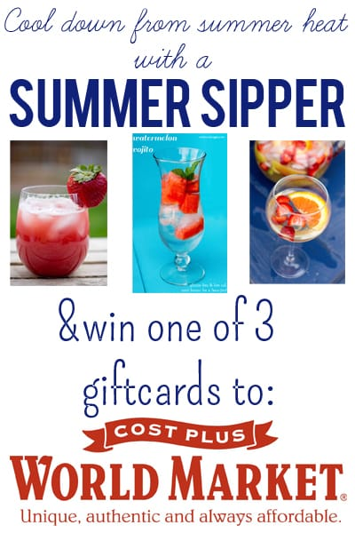 cool down from the summer heat and win one of 3 giftcards to world market to stock up on glassware and delicious beverages! at sweetcsdesigns.com #giveaway #sponsored #summersippers