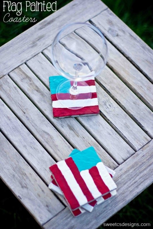 flag painted coasters- these are easy, inexpensive and fun to make! A perfect way to get kids involved in 4th of July crafting at sweetcsdesigns.com ! #flag #kidscraft #coaster