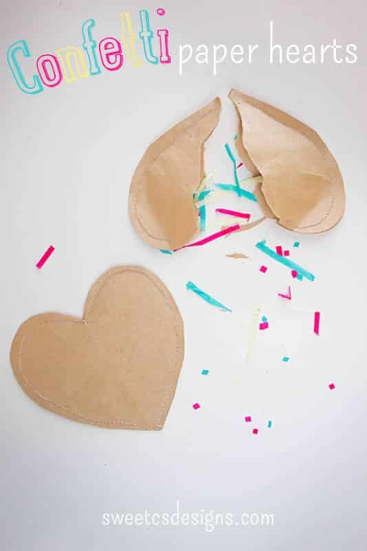 Confetti Paper Hearts at sweetcsdesigns.com - the cutest party favor! Have guests rip them open for a fun way to throw confetti or use them to wrap gift cards in! #confetti #party #favor