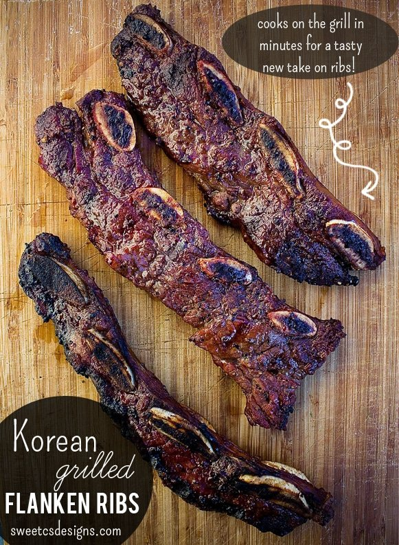 Korean Grilled flanken ribs- these are cut across the bone so you can grill them in minutes- not hours! This is the BEST marinade for a delicious rib dinner- at sweetcsdesigns com! #ribs #koreanribs