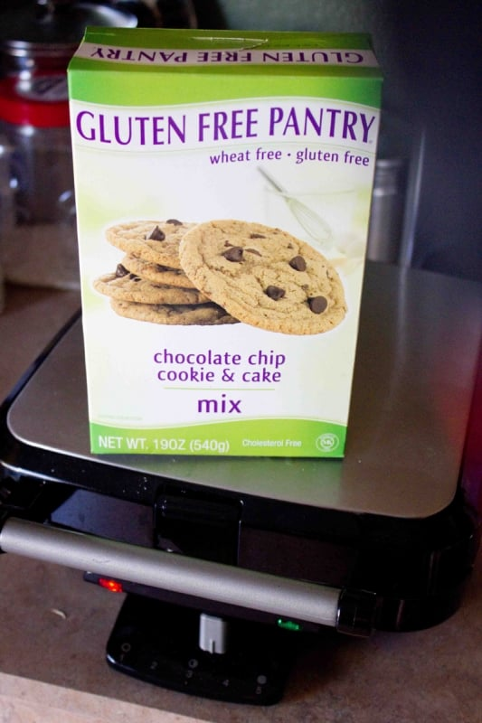 Make chocolate chip waffles out of a cookie mix- this is an awesome recipe!