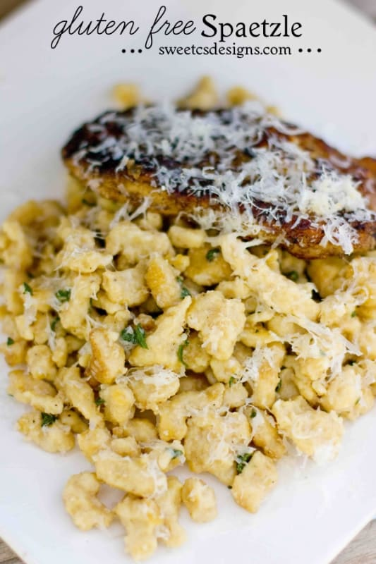 gluten free spaetzle with fave bean flour- this is a delicious carb free recipe for your favorite german dumplings and are incredibly easy to make! Find the recipe at sweetcsdesigns.com #spaetzle #germanfood #dumpling #glutenfree