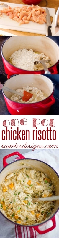 one pot chicken risotto with fresh vegetables at sweetcsdesigns.com #chicken #recipe #onepot
