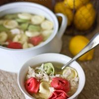4 Ingredient Lemon Chicken Tortellini Soup