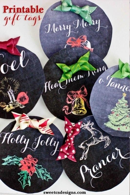 Christmas Chalkboard Printable Gift Tags