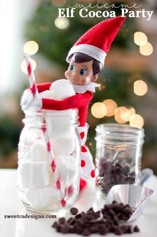 Welcome Elf cocoa party- surprise your kids with your Elf on a Shelf's return and a cocoa party to celebrate!