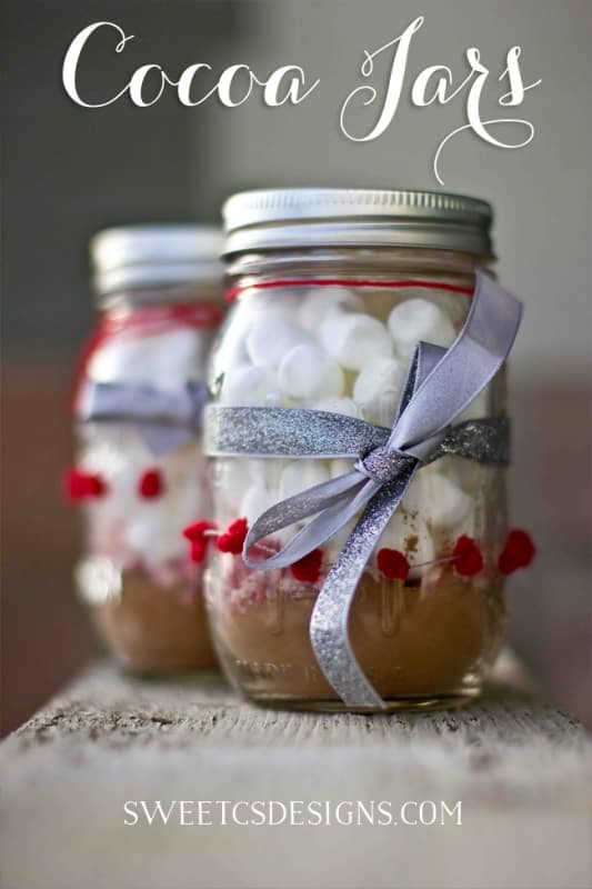 cocoa jars - these make awesome quick Christmas or Valentines gifts!