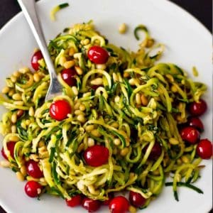 Zucchini Pine Nut & Cranberry Paleo Pasta