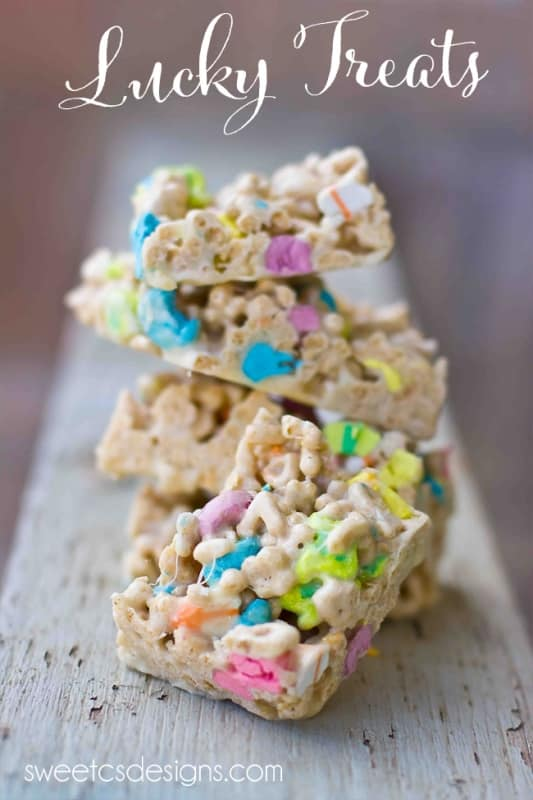Lucky Treats- like rice crispy treats with lucky charms! Perfect for St Pats snacks!