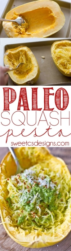 Make Paleo Pesto with Spaghetti Squash! This is an easy healthy vegetarian weeknight meal!
