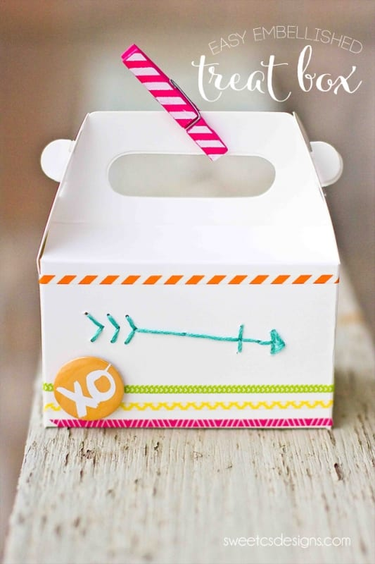 Easy embellished treat box with Amy Tangerine supplies1