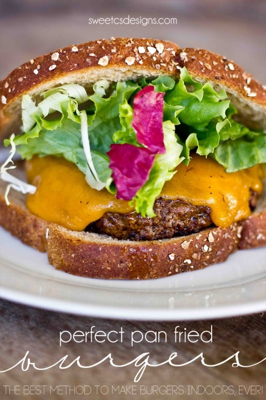 Perfect pan friend burgers- this is the best way to make burgers inside ever! Perfect melty cheese quick cooking and keeps its shape!
