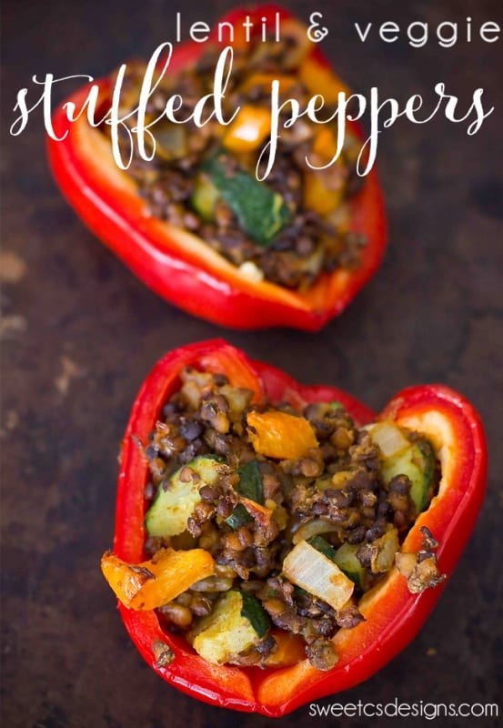 lentil and vegetable stuffed peppers on a plate picture