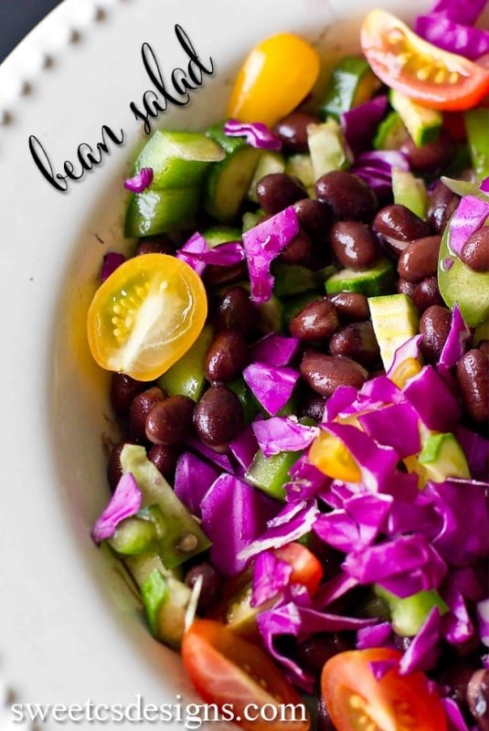 this raw vegetable and bean salad is so delicious- eat as is or add to tacos and salads!